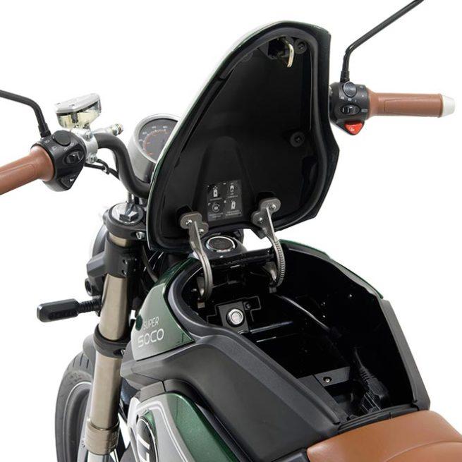 Moto électrique Super SOCO TC Vert rangement