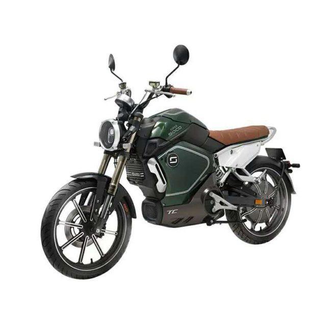 Moto Electrique Super SOCO TC Verte avant gauche