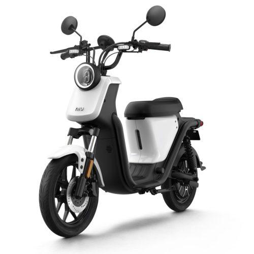 Scooter Electrique NIU U pas cher blanc avant gauche