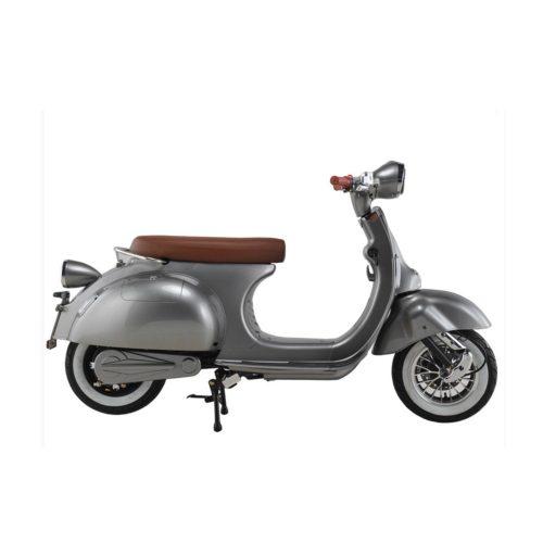 Scooter électrique rétro vespa gris argenté 50 cm3 droite Scooters électriques 2twenty Roma
