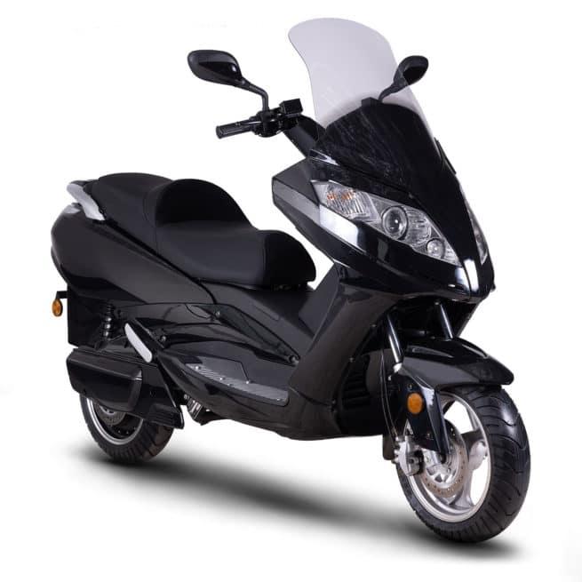 scooter électrique 125cm3 haut de gamme noir brillant confortable grand tourisme