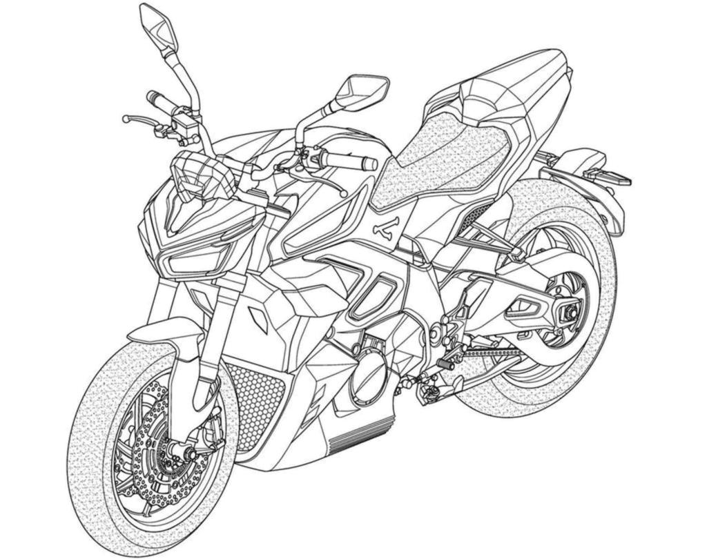 Schéma de la future moto électrique de chez Kymco.