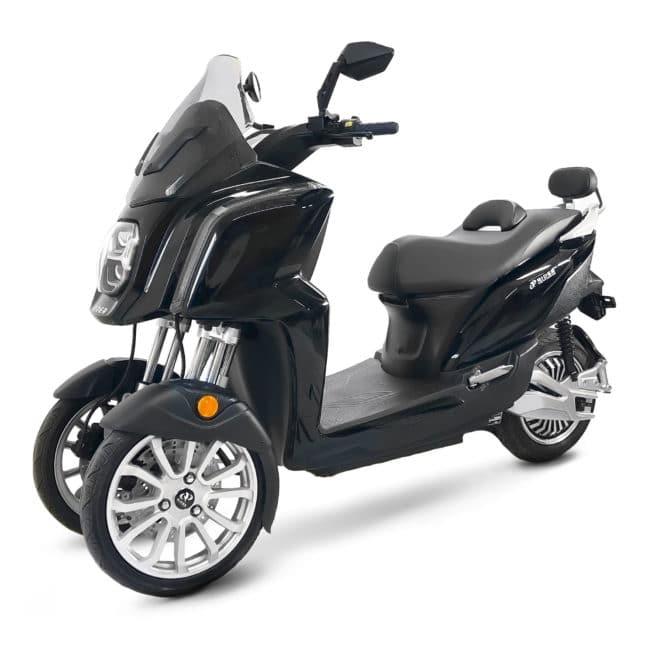 rider 3R 3RS scooter électrique trois roues noir brillant batterie amovible sans effort lithium ion pratique