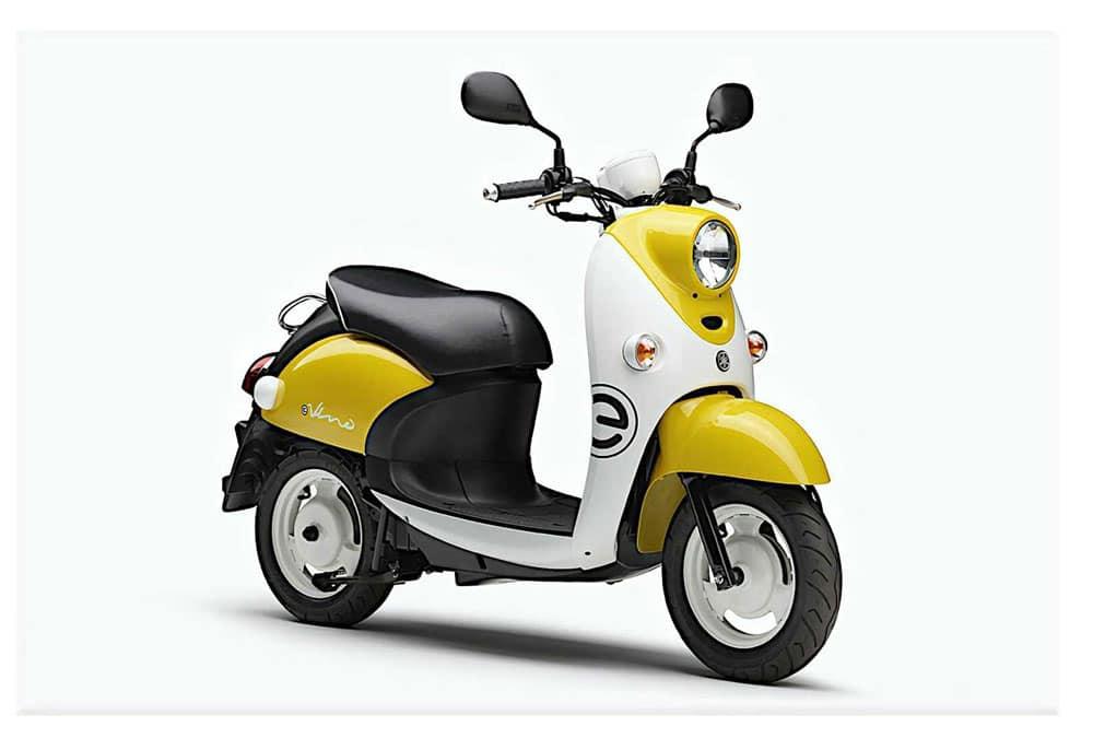 yamaha e-vino scooter électrique vintage jaune blanc