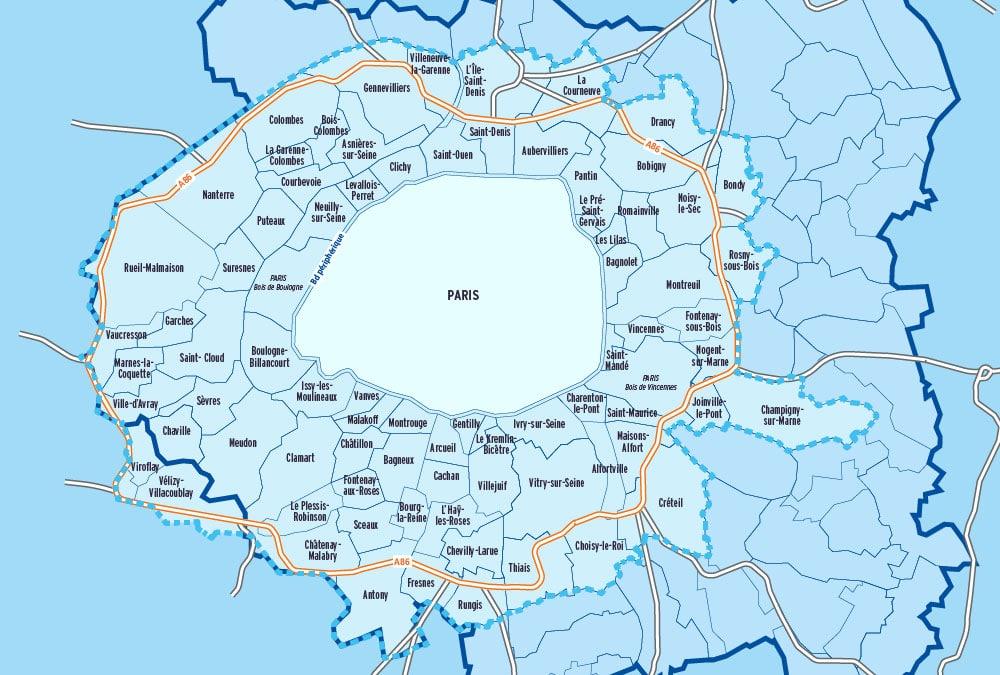 grand paris A86 carte ZFE Zones à Faibles Émissions