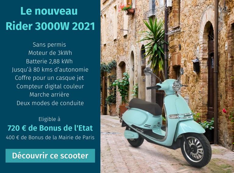 Rider 3000W 2021 scooter électrique 50cm3 sans permis