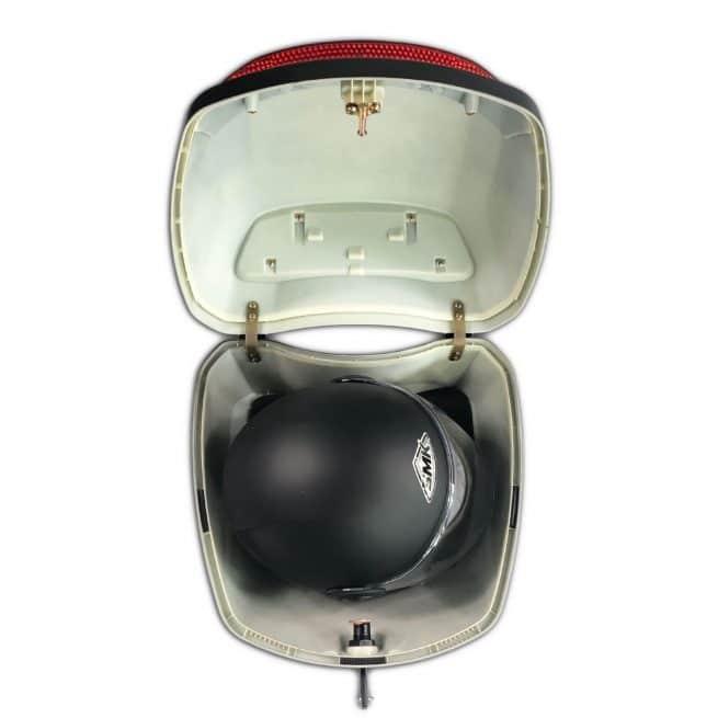 top case rider 3000 ouvert avec casque intégral dedans
