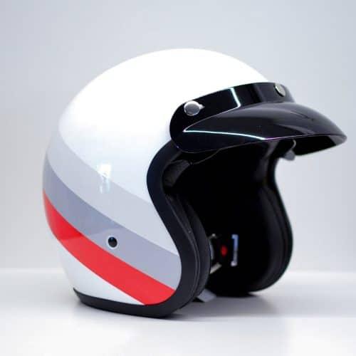 casque jet niu blanc gris rouge