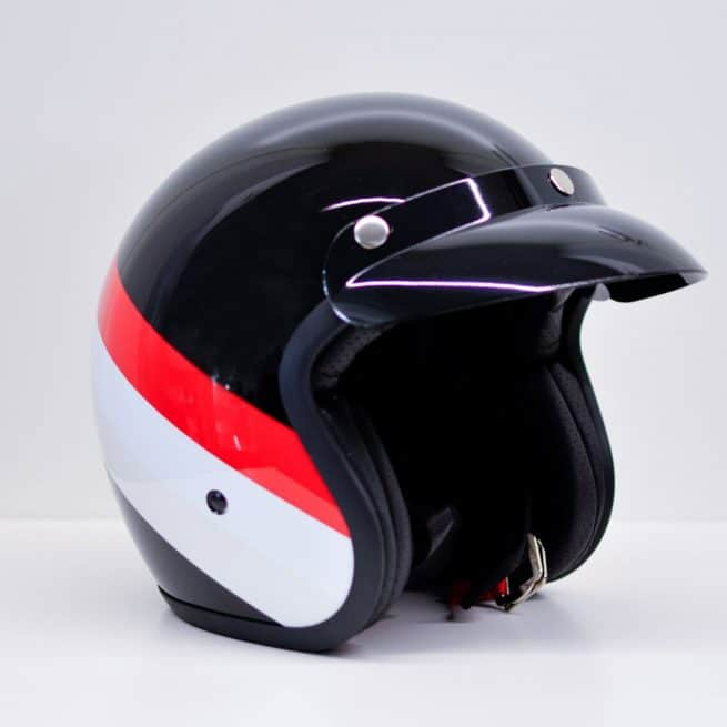 casque jet niu noir rouge blanc